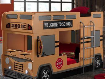 WHITE LABEL - lit superposé bus - school - l 215 x l 100 x h 132 - Lits Superposés Enfants