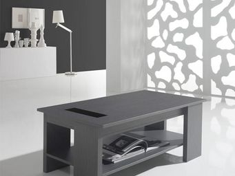 WHITE LABEL - table basse relevable cendre - huda - l 110 x l 60 - Table Basse Rectangulaire