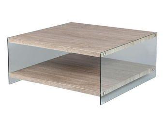 WHITE LABEL - table basse carrée - francisco - l 90 x l 90 x h 4 - Table Basse Carrée