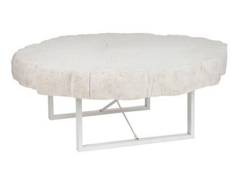 WHITE LABEL - table basse - woody - l 117 x l 107 x h 43 - résin - Table Basse Ronde