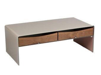 TOUSMESMEUBLES - table basse en verre et bois - talpa - l 120 x l 6 - Table Basse Rectangulaire