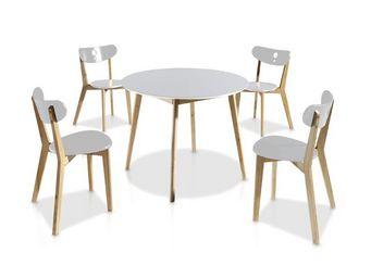 WHITE LABEL - ensemble table & chaises blanc - daia - diamètre 1 - Table De Repas Ronde