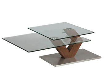WHITE LABEL - table basse en verre et bois - branch - l 87 x l 6 - Table Basse Carrée