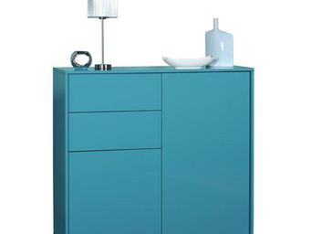 WHITE LABEL - buffet turquoise 2 portes 2 tiroirs - navo - l 114 - Buffet Bas