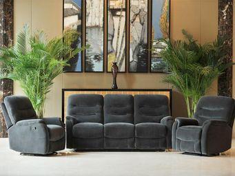 WHITE LABEL - canapé relax 3p + 2 fauteuils relax manuel - labi  - Canapé 3 Places