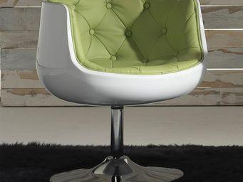 WHITE LABEL - fauteuil simili cuir vert - zola - l x 66 x l 65 x - Fauteuil Rotatif