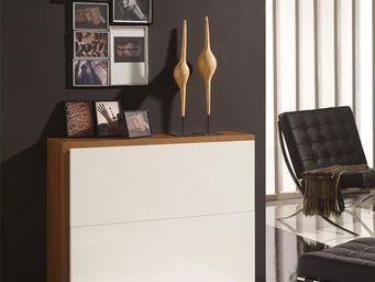 WHITE LABEL - meuble à chaussures blanc/noyer - basica - l 106 x - Meuble À Chaussures