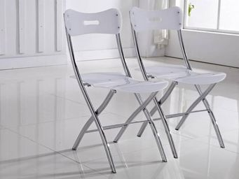 WHITE LABEL - lot de 2 chaises widow design en plexiglas blanche - Chaise Pliante
