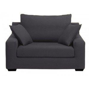 Home Spirit - fauteuil xl manhattan tissu microfibre noir ébène - Fauteuil