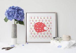 la Magie dans l'Image - print art grand hérisson rouge - Tableau Décoratif