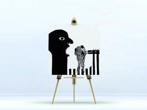 la Magie dans l'Image - toile ogre spaghettis noir & blanc - Impression Numérique Sur Toile