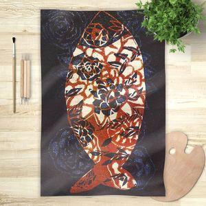 la Magie dans l'Image - foulard poisson batik bleu - Foulard Carré