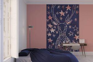 la Magie dans l'Image - grande fresque murale cerf etoilé bleu - Papier Peint Panoramique
