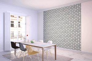la Magie dans l'Image - grande fresque murale trèfle vert-de-gris blanc - Papier Peint Panoramique