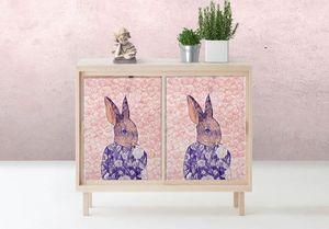 la Magie dans l'Image - adhésif mon petit lapin fond rose - Sticker
