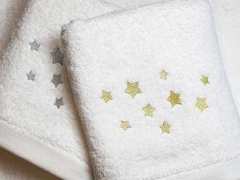 Liou - serviette de bain etoiles or & argent - Serviette De Toilette