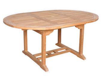 CEMONJARDIN - table ronde barcelone teck massif - Table De Jardin Ovale
