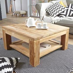 BOIS DESSUS BOIS DESSOUS - table basse en bois de teck 80 boston - Table Basse Carrée