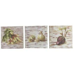 CHEMIN DE CAMPAGNE - 3 tableaux cadres en bois peint légumes de cuisine - Tableau Décoratif