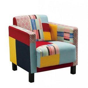 Mathi Design - fauteuil patchwork tissus cubik - Fauteuil