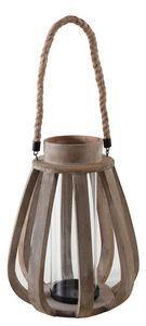 Aubry-Gaspard - lanterne de jardin en bois vieilli et verre - Lanterne D'extérieur