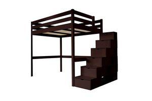 ABC MEUBLES - abc meubles - lit mezzanine sylvia avec escalier cube bois wengé 90x200 - Lit Mezzanine