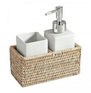 ROTIN ET OSIER - ensemble salle de bain - Distributeur De Savon