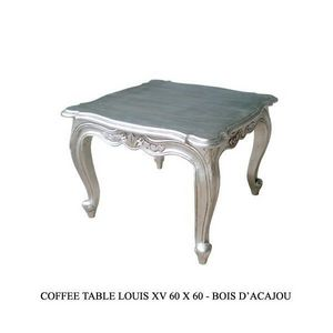 DECO PRIVE - table basse baroque argentee 60 cm deco prive - Table Basse Carrée