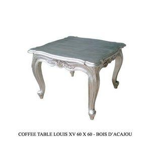 DECO PRIVE - table basse baroque argentee 60 cm deco prive - Table Basse Carrée