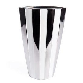 vase rayé blanc argent - vase à fleurs - maisons du monde - Chaise Tulipe Maison Du Monde