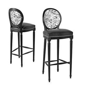 chaise bar cocktail en noir et blanc - chaise haute de bar - bois ... - Chaises Hautes De Bar