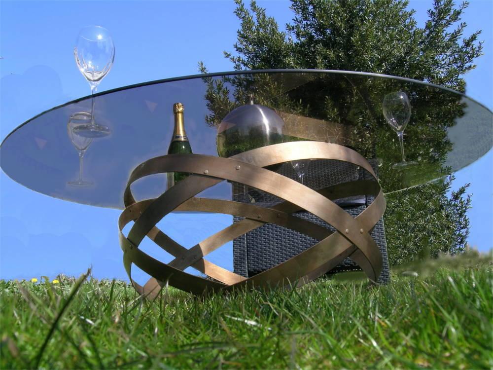 Table Basse Avec Coffre De Rangement ~ Table Basse En M?tal Et Verre Finition Bronze 90×3  Table De Jardin