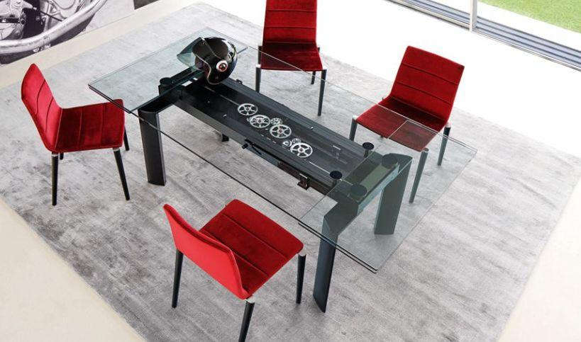Astrolab table de repas rectangulaire transparent roche bobois - Roche bobois tafel salle a manger ...