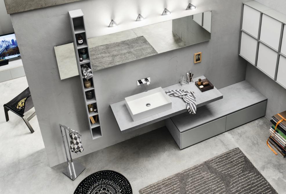 Progetto meuble de salle de bains gris inda - Meuble salle de bain original ...