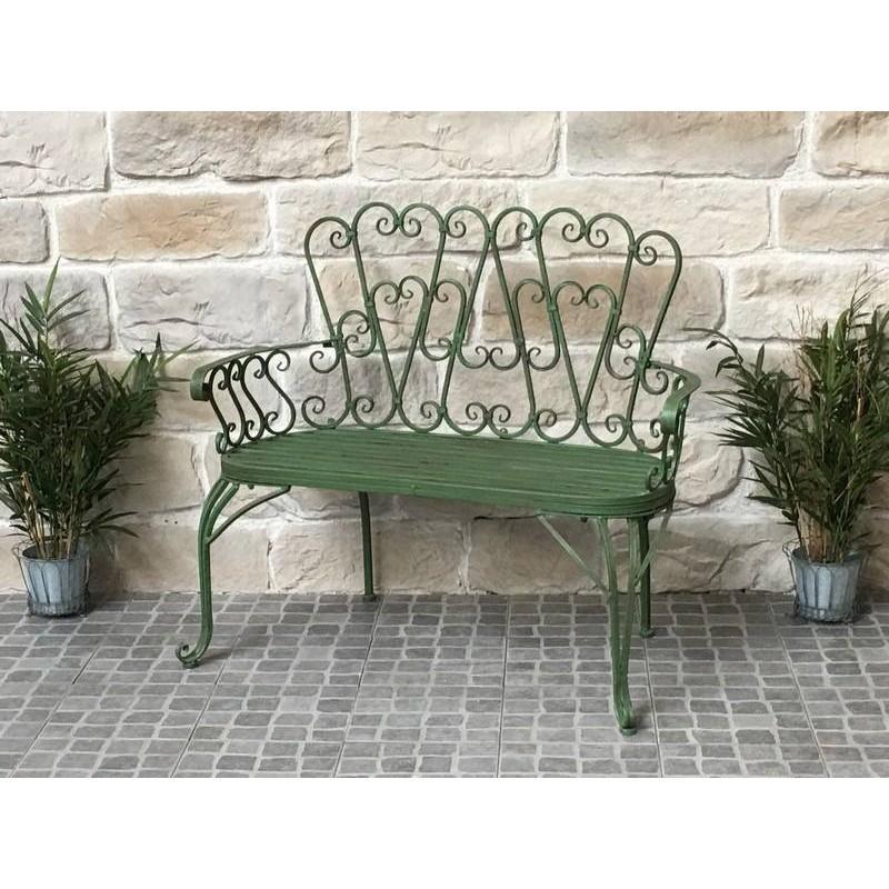 banc fauteuil en fer de jardin 105 cm banc de jardin vert fer chemin de campagne. Black Bedroom Furniture Sets. Home Design Ideas