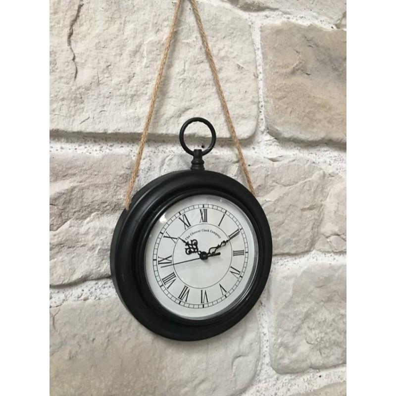 Style ancienne horloge murale en m tal fer rond oi horloge murale noir fer chemin de for Horloge en fer