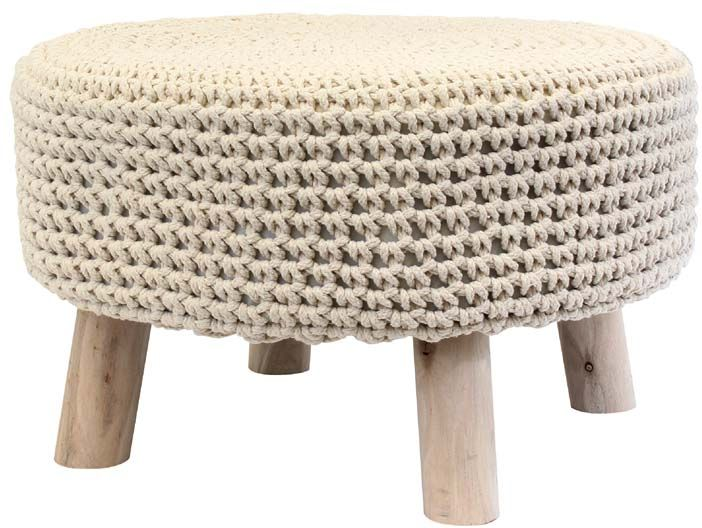 petit pouf rond tress en coton beige pouf beige. Black Bedroom Furniture Sets. Home Design Ideas