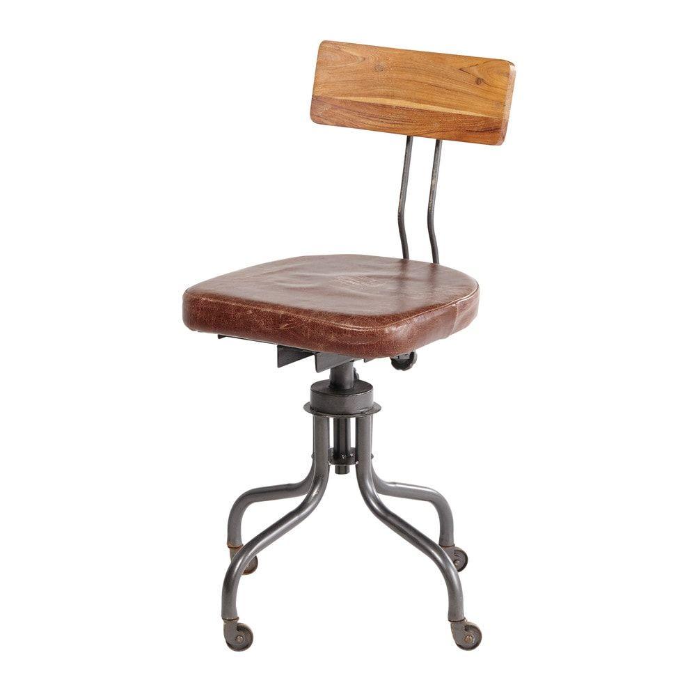 chaise de bureau indus en cuir janischaise pivotante 40x88x40cm. Black Bedroom Furniture Sets. Home Design Ideas