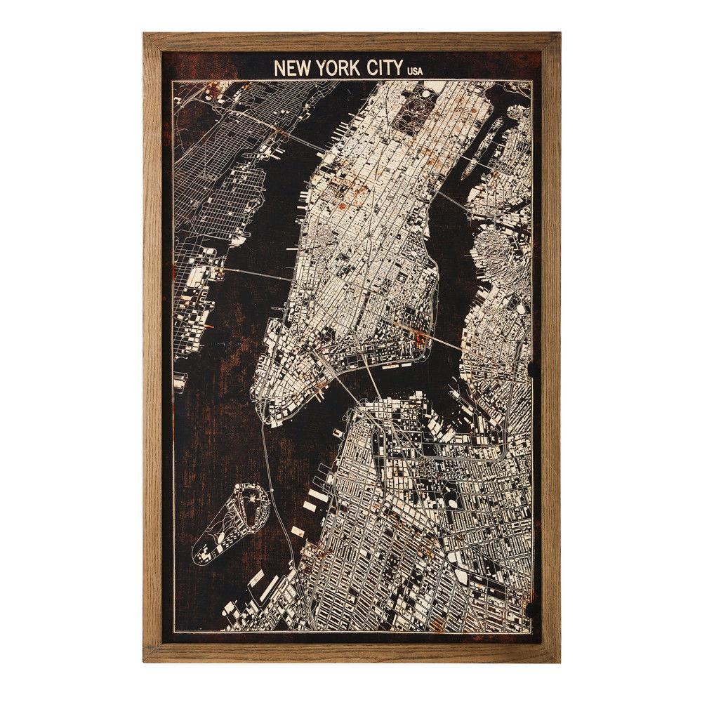 Tableau carte de new york 80x120carte g ographique Tableau maisons du monde
