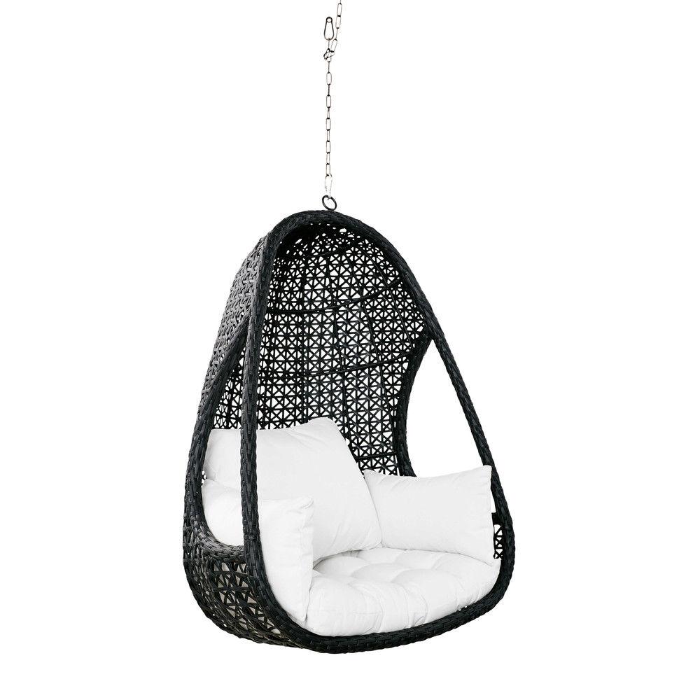 Fauteuil suspendu de jardin en résine tressée noire et coussins blancs CuzcoFauteuil suspendu ...
