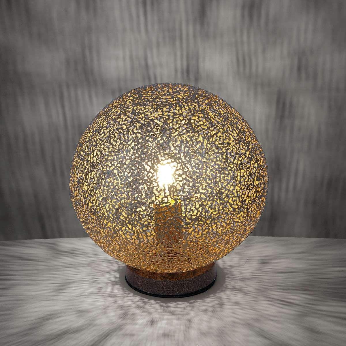 Lampe à poser sphérique Greta dorée et marron.Lampe à poser   Paul Neuhaus