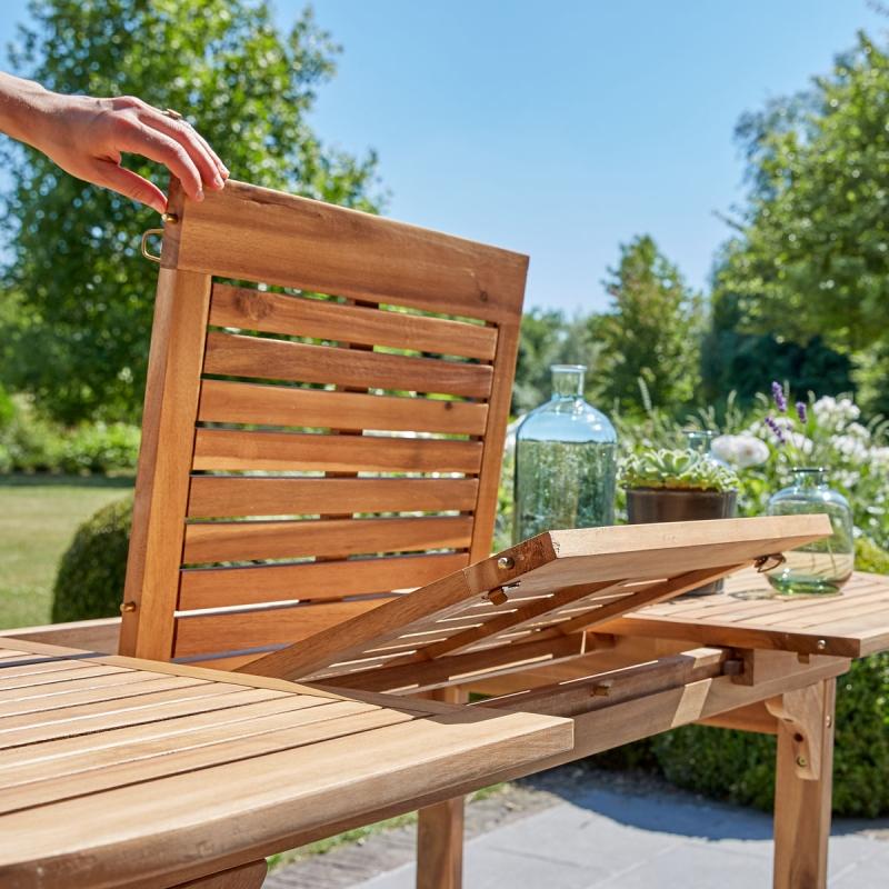 Salon de jardin en bois d\'acacia FSC extensible 6 - Salle à ...