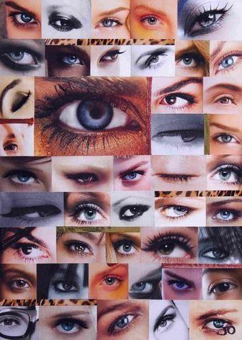 JOHANNA L COLLAGES - Tableau contemporain-JOHANNA L COLLAGES-Oeil pour oeil