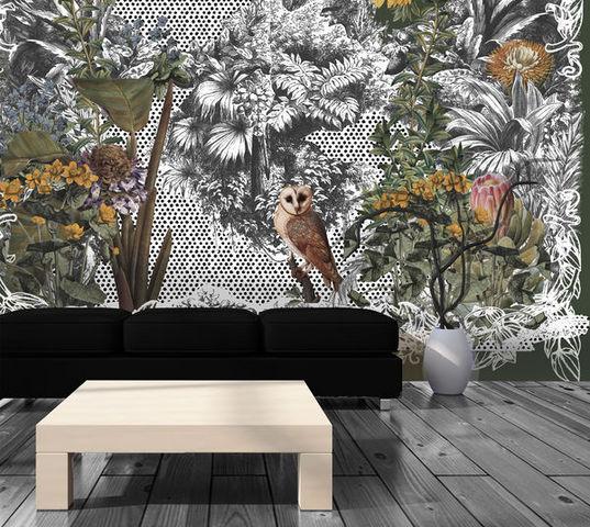 IN CREATION - Papier peint personnalisé-IN CREATION-Hibou et Jungle