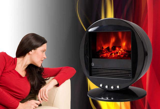 CHEMIN'ARTE - Cheminée électrique-CHEMIN'ARTE-Cheminée oscillante design fire bowl noire 40x30x3