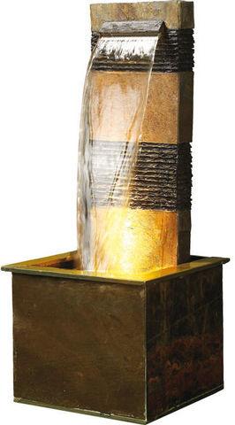 Cactose - Fontaine centrale d'extérieur-Cactose-Fontaine verso en pierre de schiste 48x48x120cm