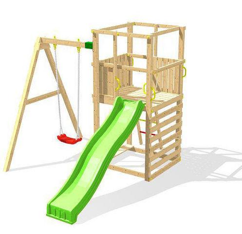 Chalet & Jardin - Portique-Chalet & Jardin-Plateforme de jeux funny toboggan en bois 234x328x