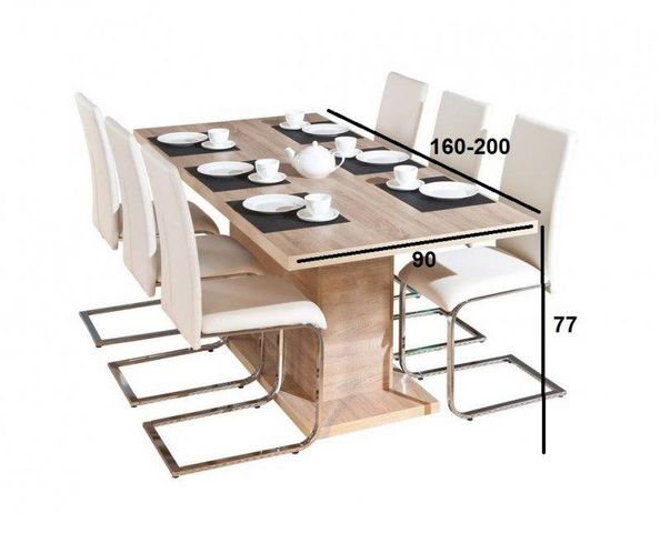 WHITE LABEL - Table de repas rectangulaire-WHITE LABEL-Table repas extensible ABSOLUTO en bois chene
