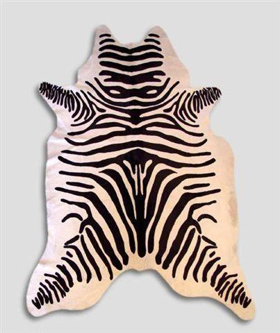 WHITE LABEL - Peau de vache-WHITE LABEL-Tapis en peau de vache imp zebre