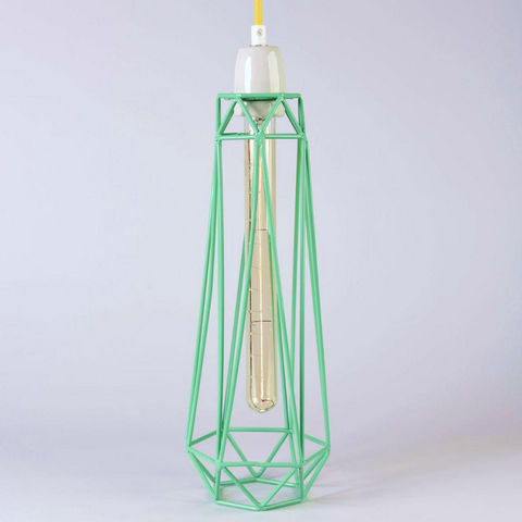 Filament Style - Suspension-Filament Style-DIAMOND 2 - Suspension Menthe câble Jaune Ø12cm |
